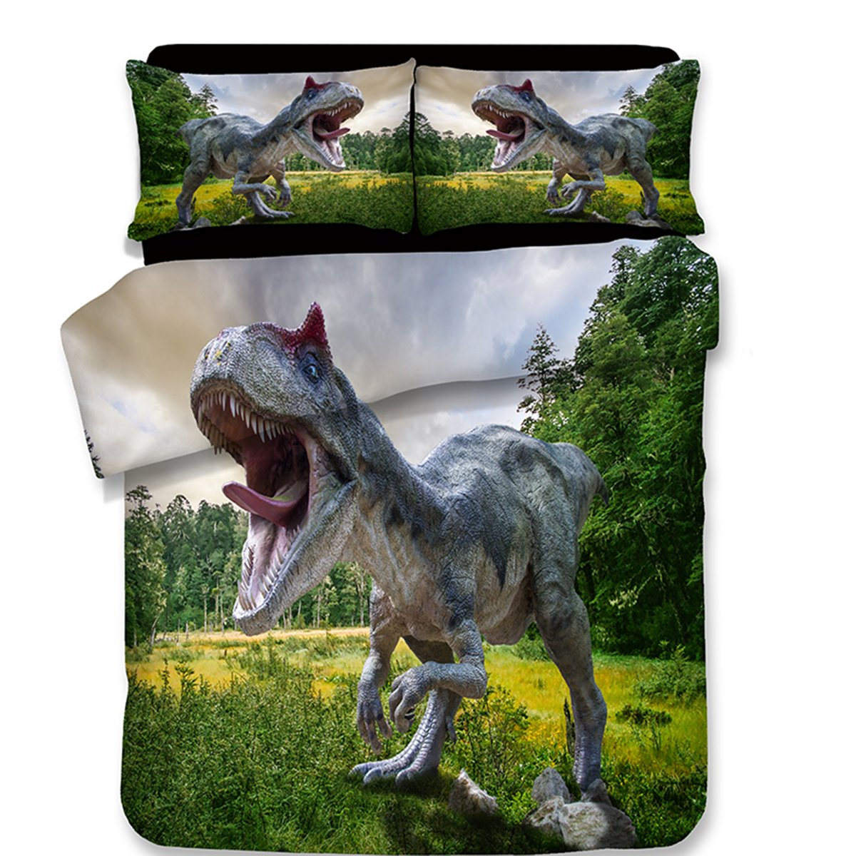 Koongso 3D Dinosaur in the Jungle Forest Bedding Sets Reversible 3 Pieces Soft Jurassic Duvet Cover Set for Kids Boys Teens,Twin/Full/Queen/King Size