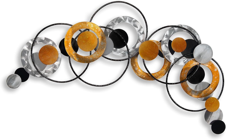 Composición de anillos y esferas Cuadro en metal escultura para la pared realiazada con tecnicas artesanales