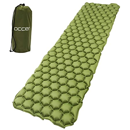 occer Ultralight Lightweight Sleeping Pad,Inflatable Compact Air Sleep Pad,Waterproof Sleeping Pads Outdoor Gifts for Women,Men Kids,Perfect for Camping,Backpacking,Hikng,Travel,Office,Tent Green