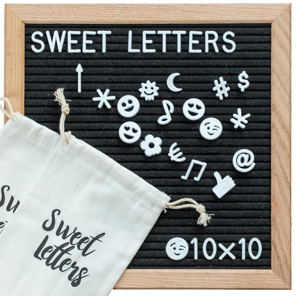 Letter Board - Changeable Felt Letter Board 10x10 Inch   BONUS Two Extra Bags   Oak Wood Frame & Holder   Wooden Letter Board Includes 340 Letters, Numbers & Emojis. Perfect as Decorative Letter Board