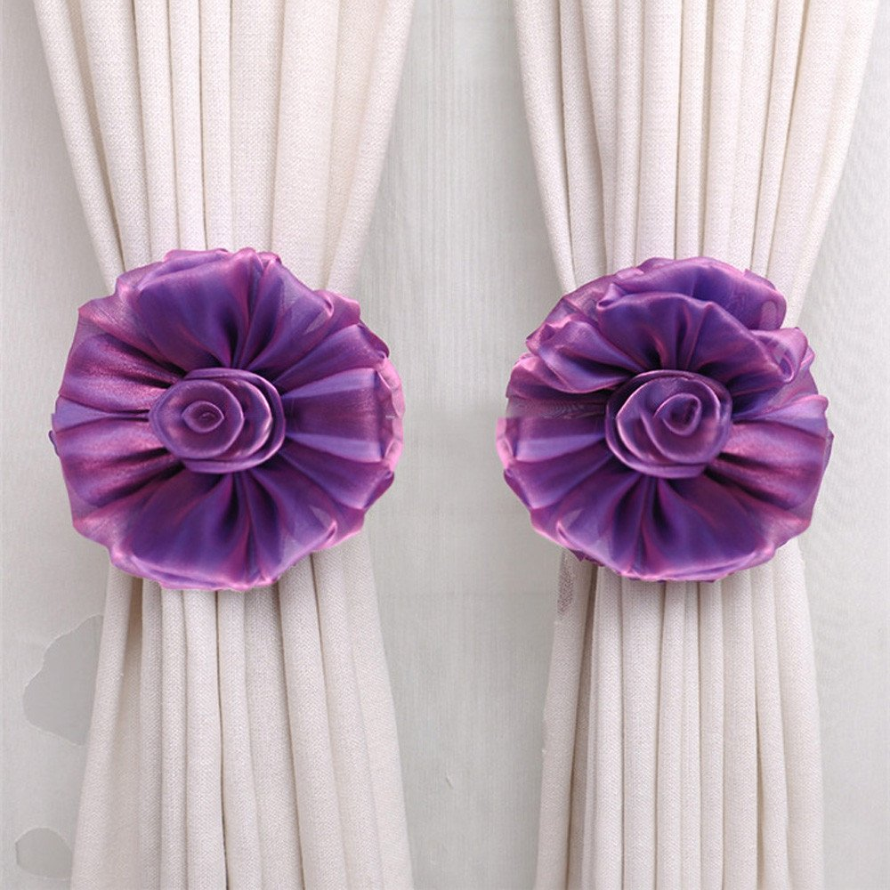 Fenebort Curtains,Clip-On Flower Tie Backs/Holdbacks for Voile & Net Curtain Panels (Purple)