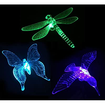 Fashionlite Solar Garden Lights, 3 Pack Outdoor Solar Stake Lights Multi-Color Changing LED Garden Lights, Premium Hummingbird, Butterfly & Dragonfly Decorative Lights for Path, Yard, Lawn, Patio