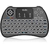 Ewin® 新型 2.4GHz ミニキーボード ワイヤレス式 無線 日本語JIS配列 マウスセット一体型 多機能ボタン タッチパッド搭載 バックライト USBレシーバー付属 汎用MicroUSB充電ケーブルも付き 【日本語説明書&1年保証付き】