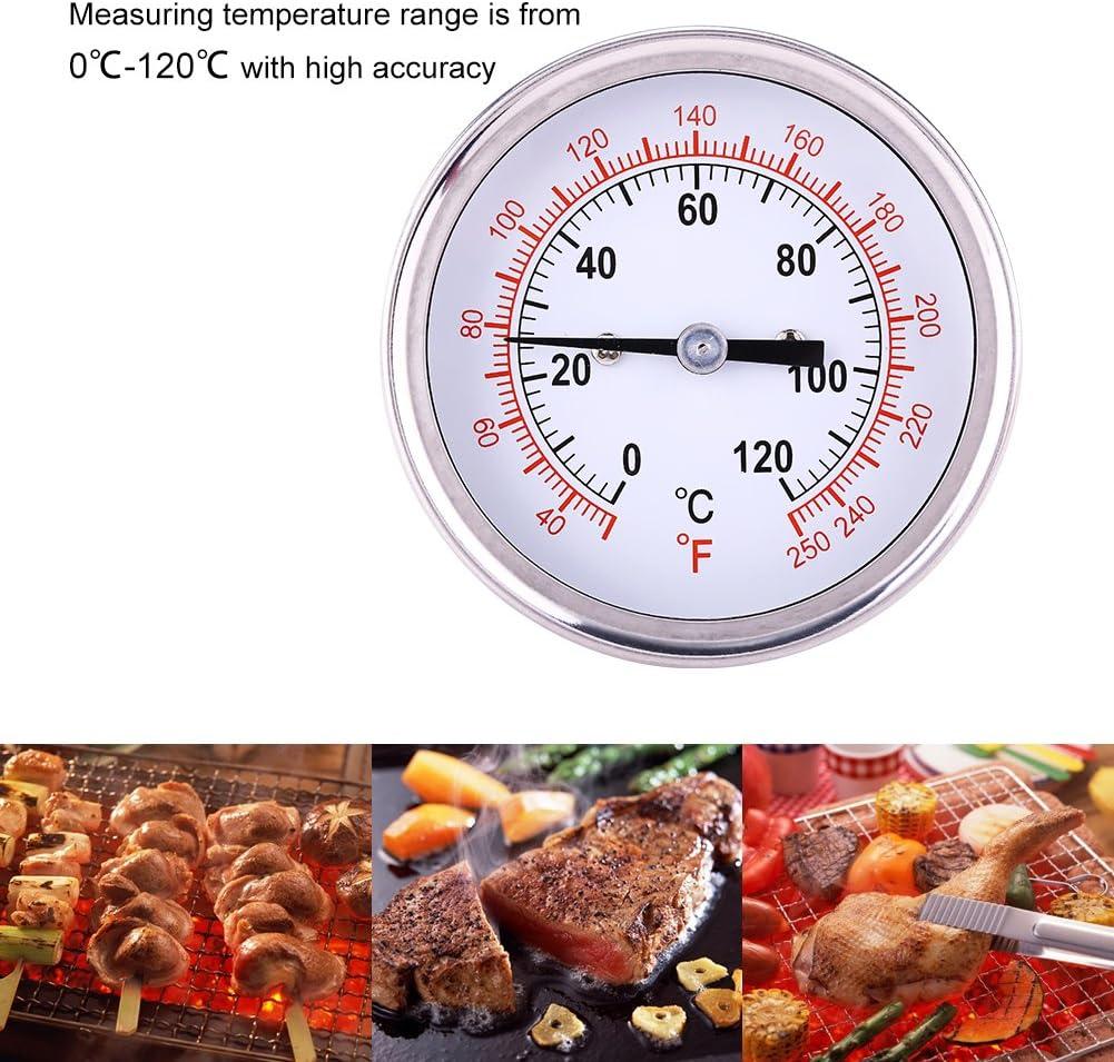 Fdit Term/ómetro de Barbacoa de Acero Inoxidable Term/ómetro de Parrilla Barbacoa de carb/ón Parrilla Ahumador Indicador de Temperatura 0 ℃ 120 ℃