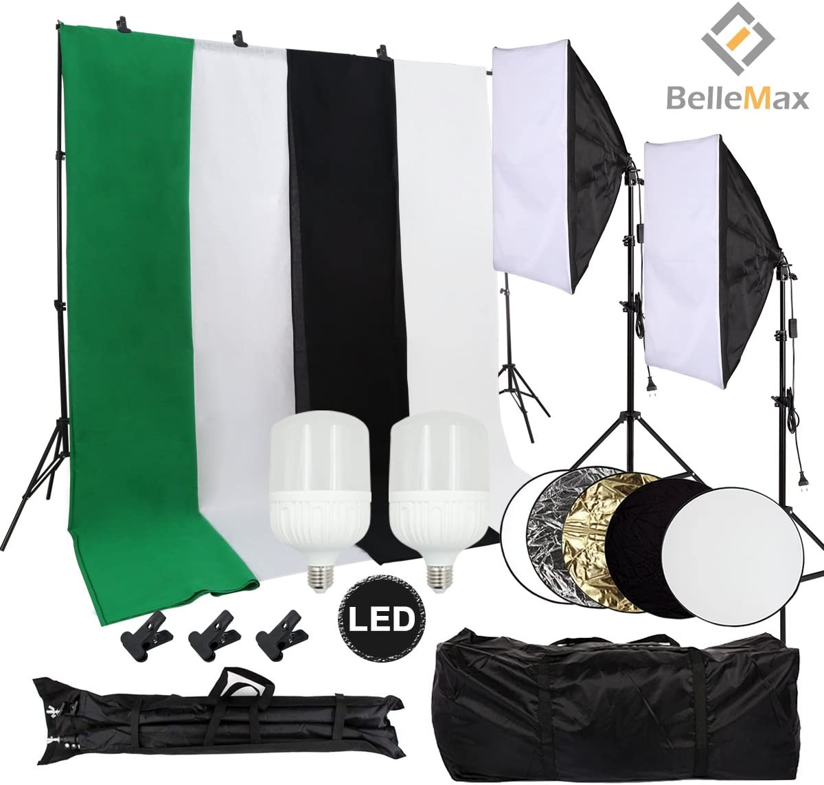 Including 2 pcs 28W LED Bulbs Belle Max Photography Softbox Lighting Kit Black//2xWhite//Green Photo Studio with Adjustable Background Support System with 4 Backdrop Reflector and Carrying Bag.