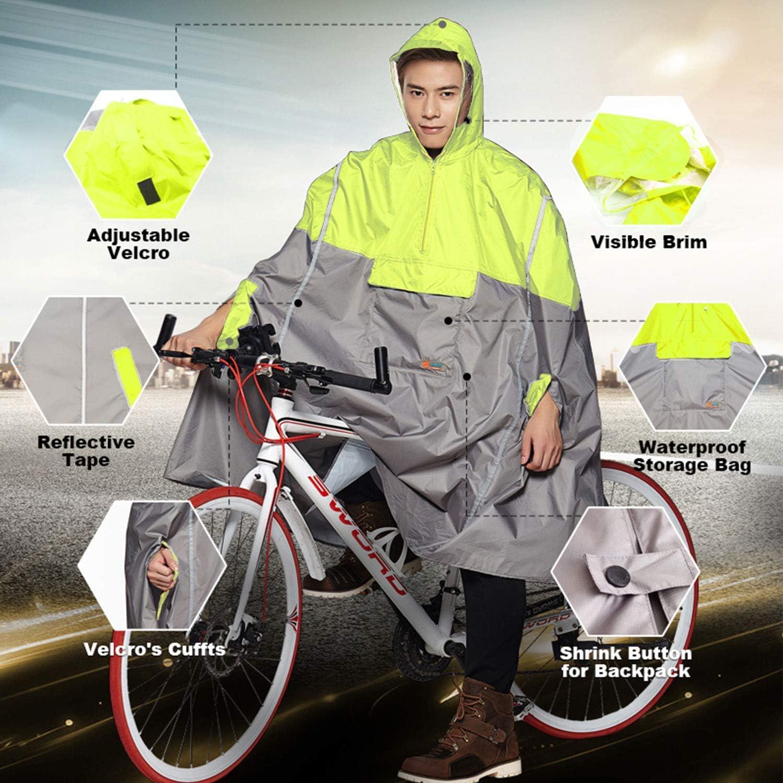 Poncho Équitation Imperméable pour Hommes Et Femmes, Légère Randonnée en Plein Air Poncho À Capuche Imperméable Yellow
