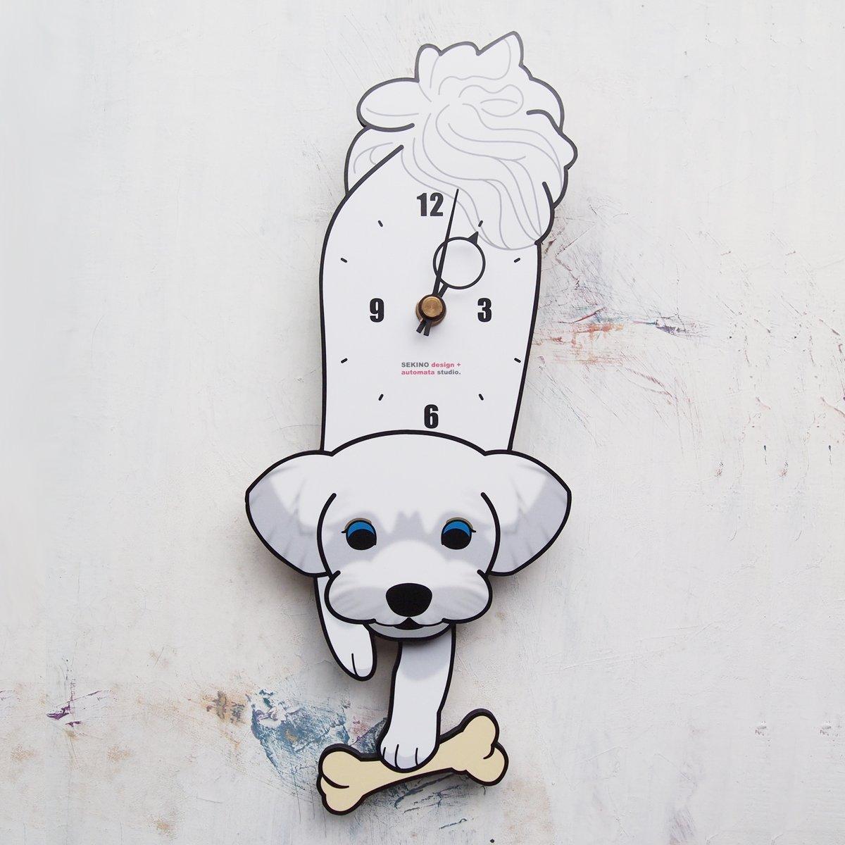 D-14 マルチーズ(白)-犬の振り子時計 B016V0M1LS