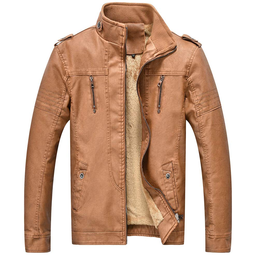 Men's PU Leather Jackets Stand Collar Zip Front Lightweight Outerwear Coats Thick Long Sleeve