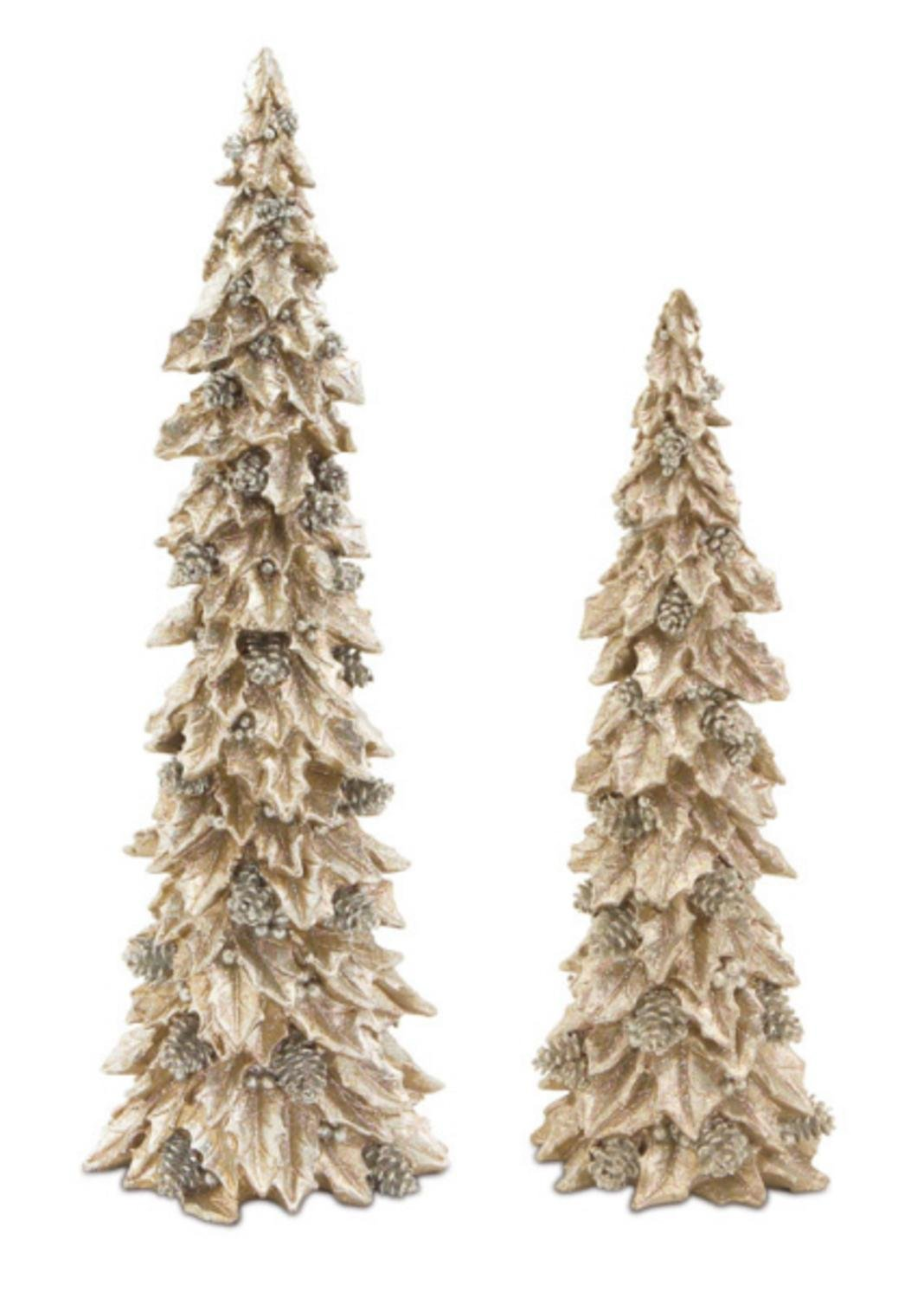 amazoncom pack of 2 glittered gold and silver holly trees with pine cones table top christmas decorations 19 home kitchen - Gold Christmas Decorations