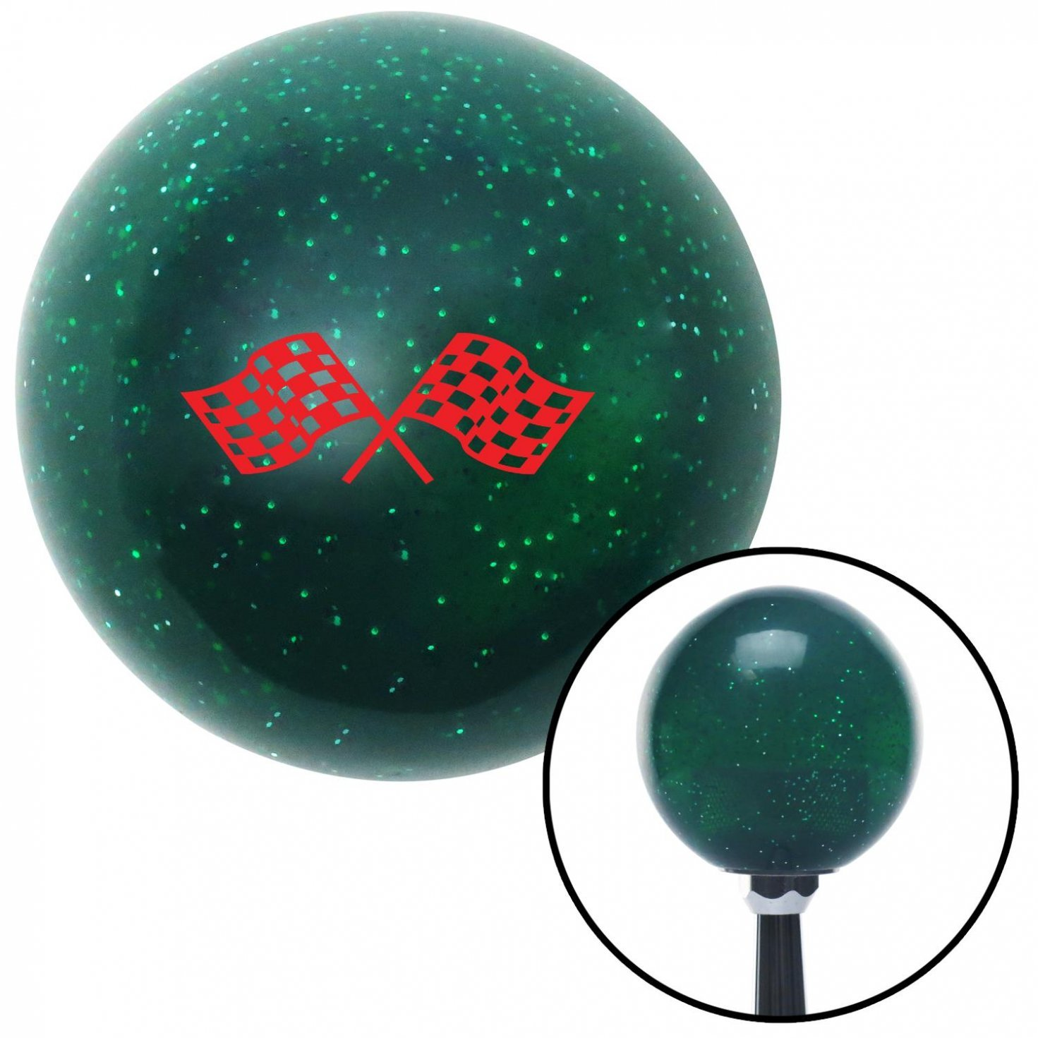 Red Checkered Racing Flags American Shifter 62279 Green Metal Flake Shift Knob with 16mm x 1.5 Insert