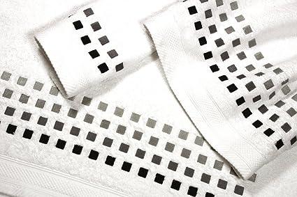 Juego de Toallas Bordadas 3 piezas 550gr CUADROS Nº10 (Blanco)