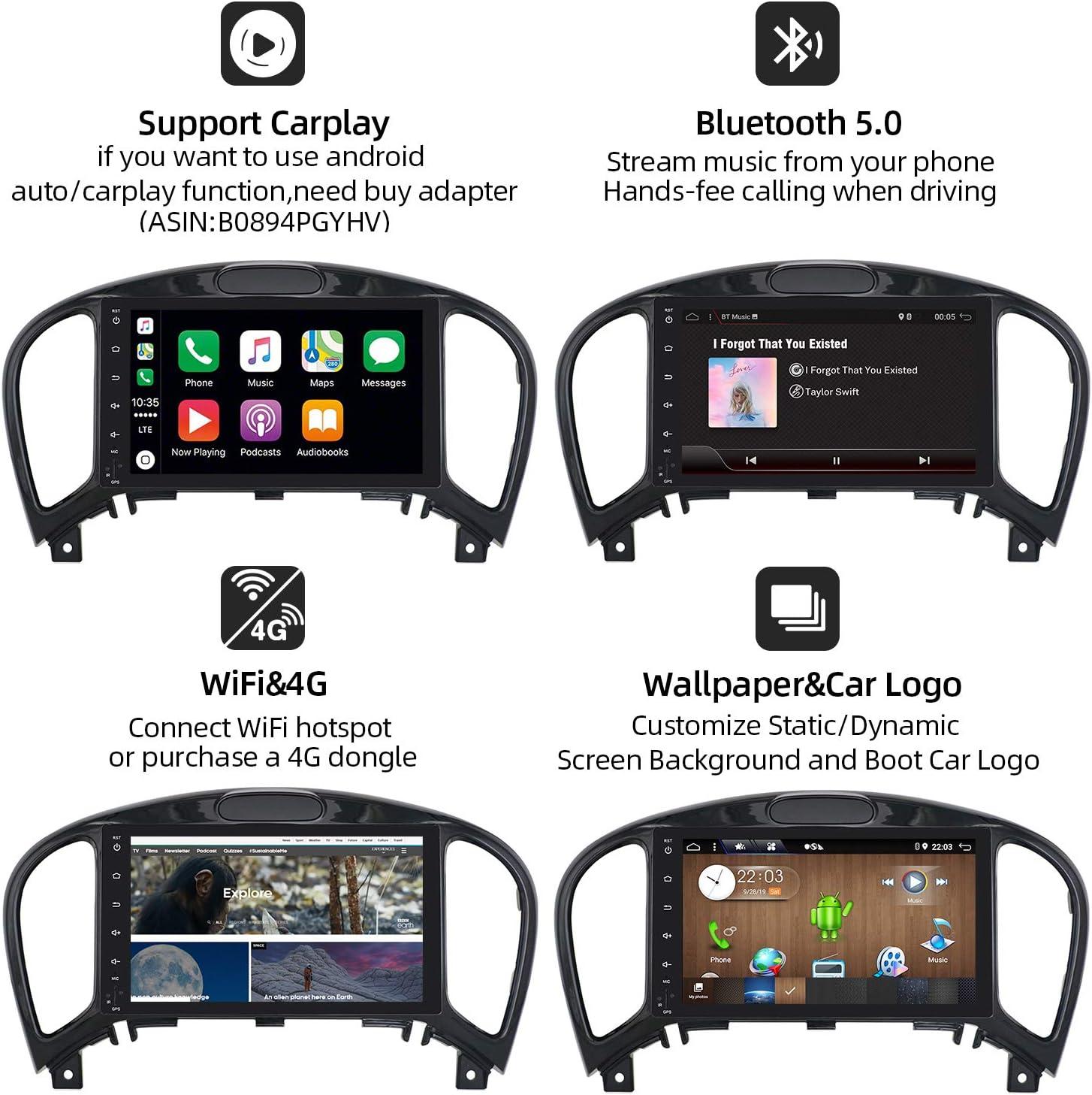 2011-2017 2010-2014 YF15 Infiniti ESQ KOSTENLOSE R/ückfahrkamera- Unterst/ützung DAB - GPS 2 Din YUNTX Android 10 Autoradio Passt f/ür Nissan Juke // Lenkradsteuerung //4G//WiFi//Bluetooth//Mirrorlink
