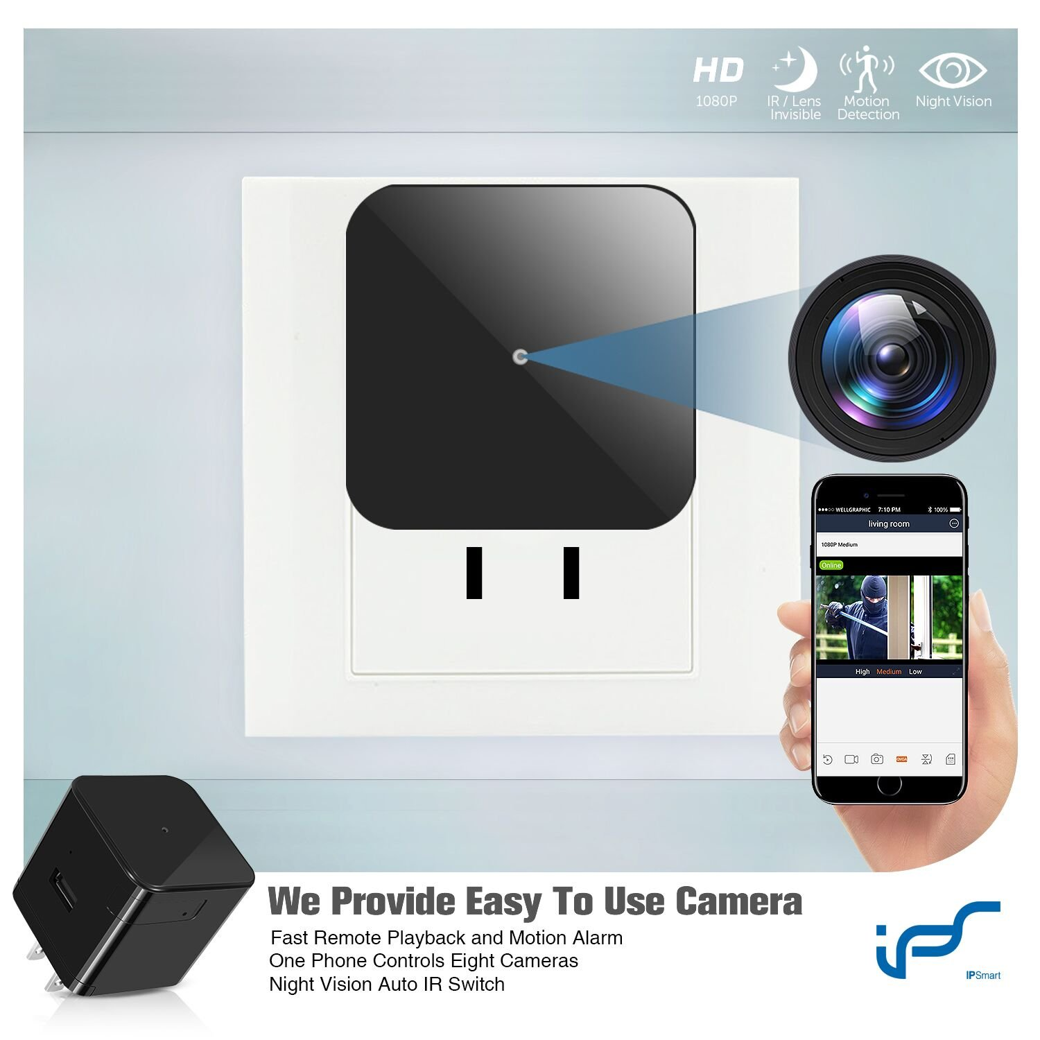 Hidden Camera WiFi Adapter 1080P Spy Camera Wall Charger with Night Vision Spy USB Camera Mini with Motion Detection Plug Camera Hidden Wireless with Playback - Real Time Home or Office Surveillance