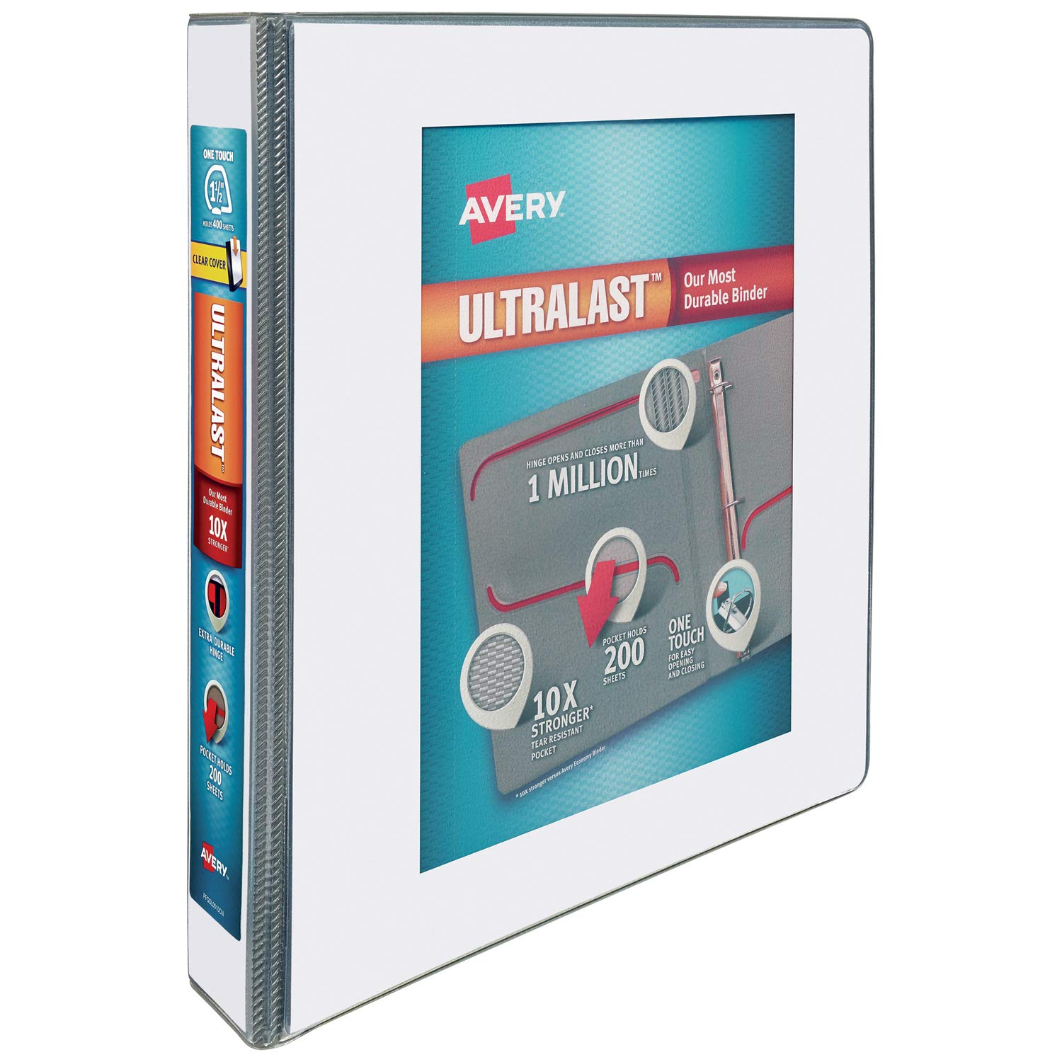 Avery 1.5'' Ultralast 3 Ring Binder, One Touch Slant Ring, Holds 8.5'' x 11'' Paper, 1 White Binder (79714) by AVERY