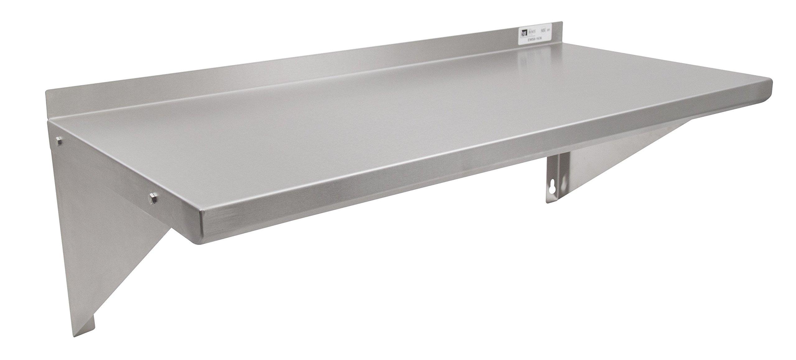 John Boos EWS8-1648 Stainless Steel Standard Wall Shelf, 48'' Length, 16'' Width