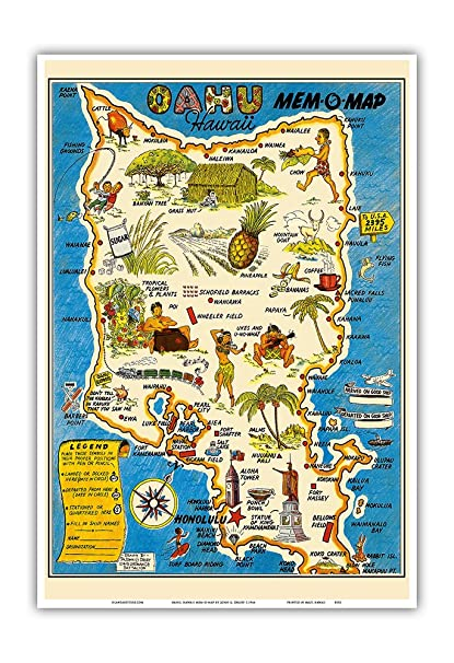 Amazon.com: Pacifica Island Art Oahu, Hawaii Mem-O-Map - World War ...
