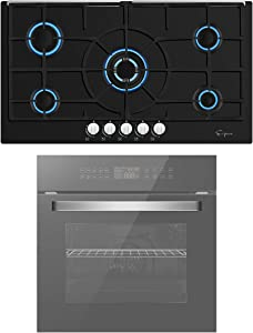 Empava 24 Inch Electric Single Wall Oven and 36 Inch Gas Cooktop Stove LPG/NG Convertible with 5 Italy SABAF Burners in Tempered Glass