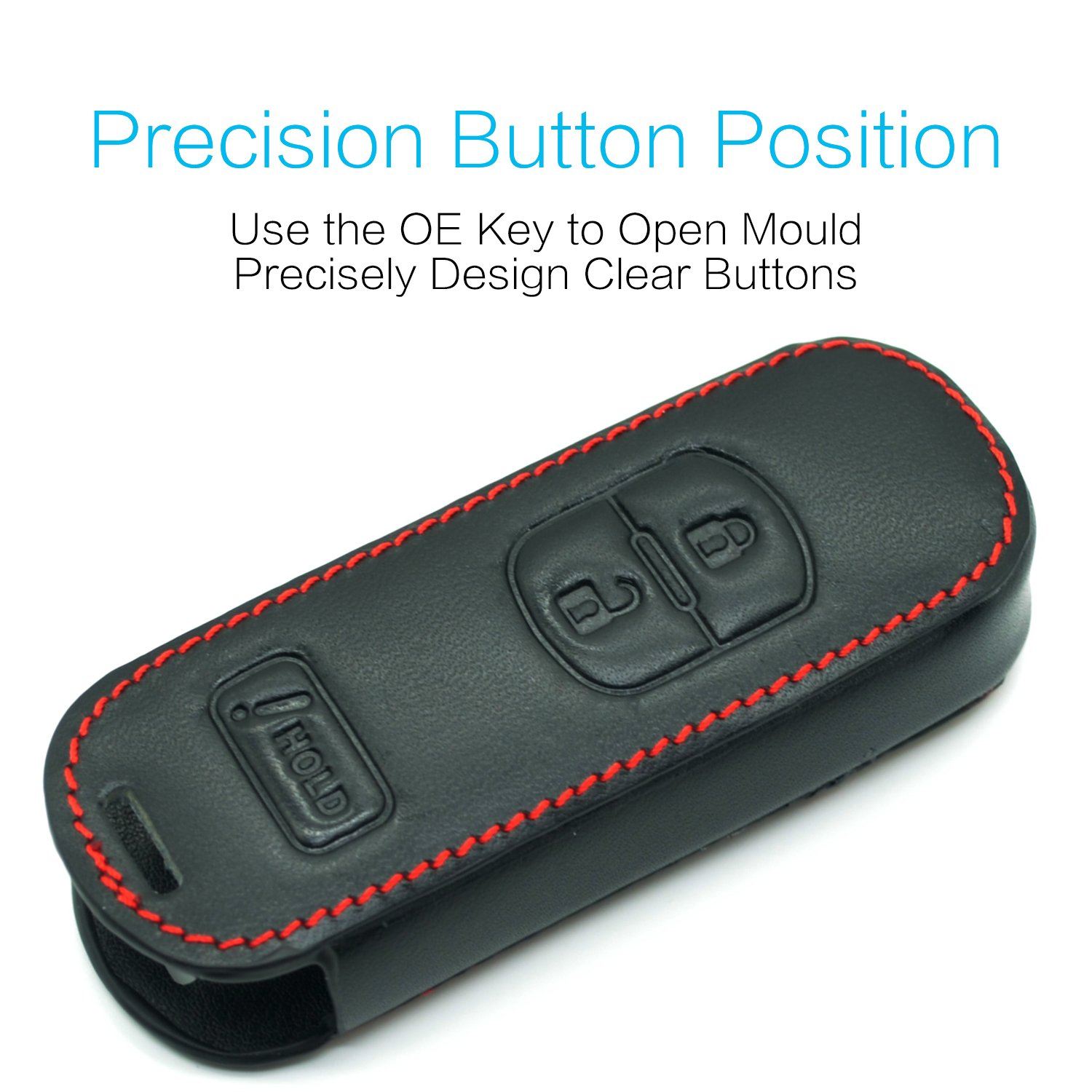 Compatible with fit for Mazda 3 CX-5 CX-7 CX-9 WAZSKE13D01 3 Buttons Leather Keyless Entry Remote Control Key Fob Cover Pouch Bag Jacket Case Protector Shell MECHCOS
