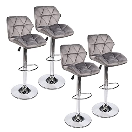 PULUOMIS 360 Degree Mordern Swivel Adjustable Barstool, Fabric Flannel Padded Pub Chair Grey Flannel 4