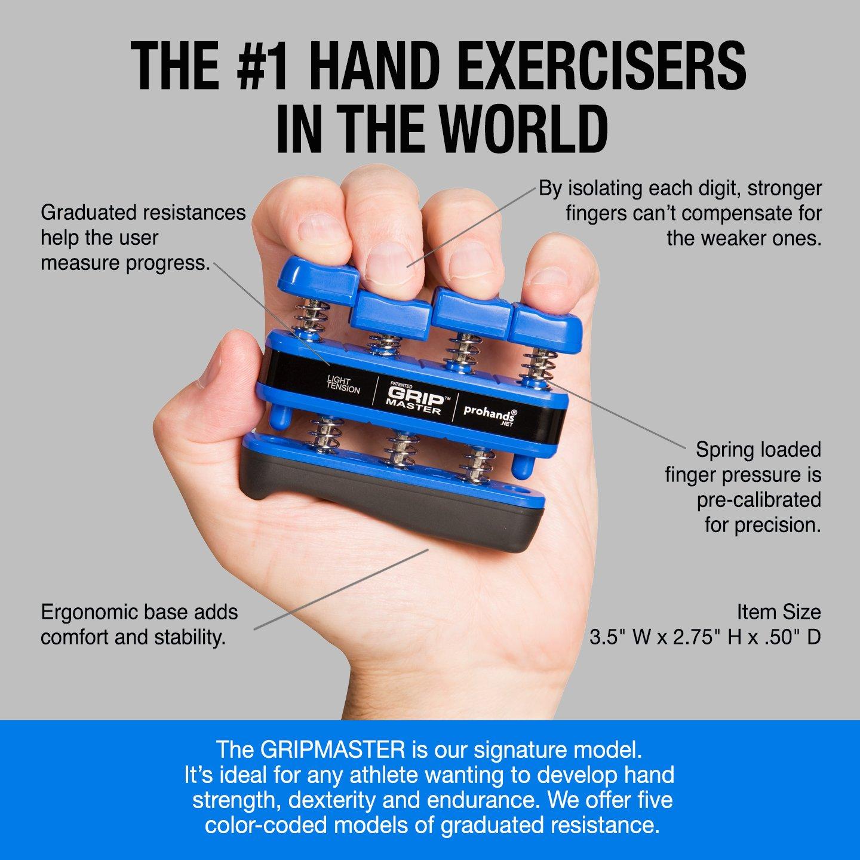 GRIP MASTER Gripmaster 14001-BLU Hand Exerciser Blue, Light Tension (5-Pounds per Finger) by GRIP MASTER (Image #3)