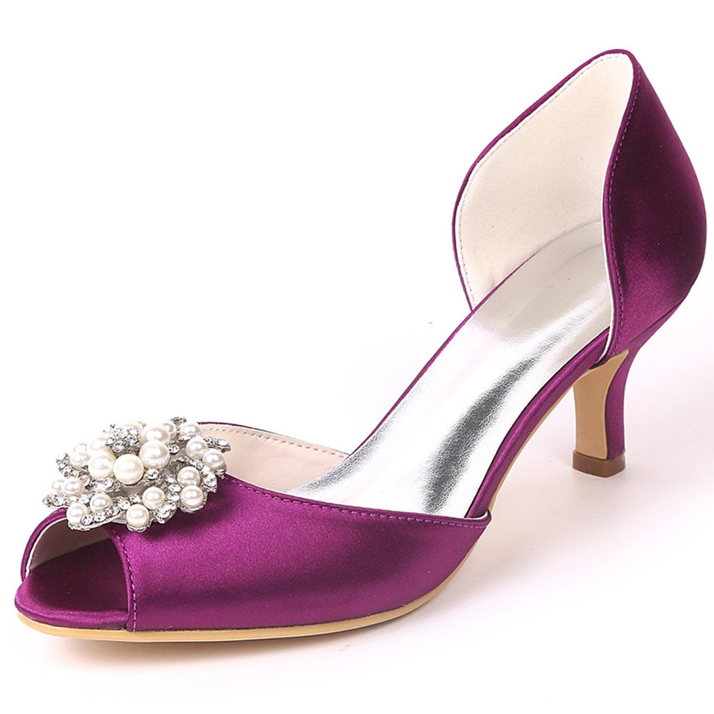L@YC Frauen Hochzeit Schuhe Niedrig Satin Heel Satin Niedrig Größe Party Nach Maß Side air Strass/Kätzchen Heels Purple 10f9a4