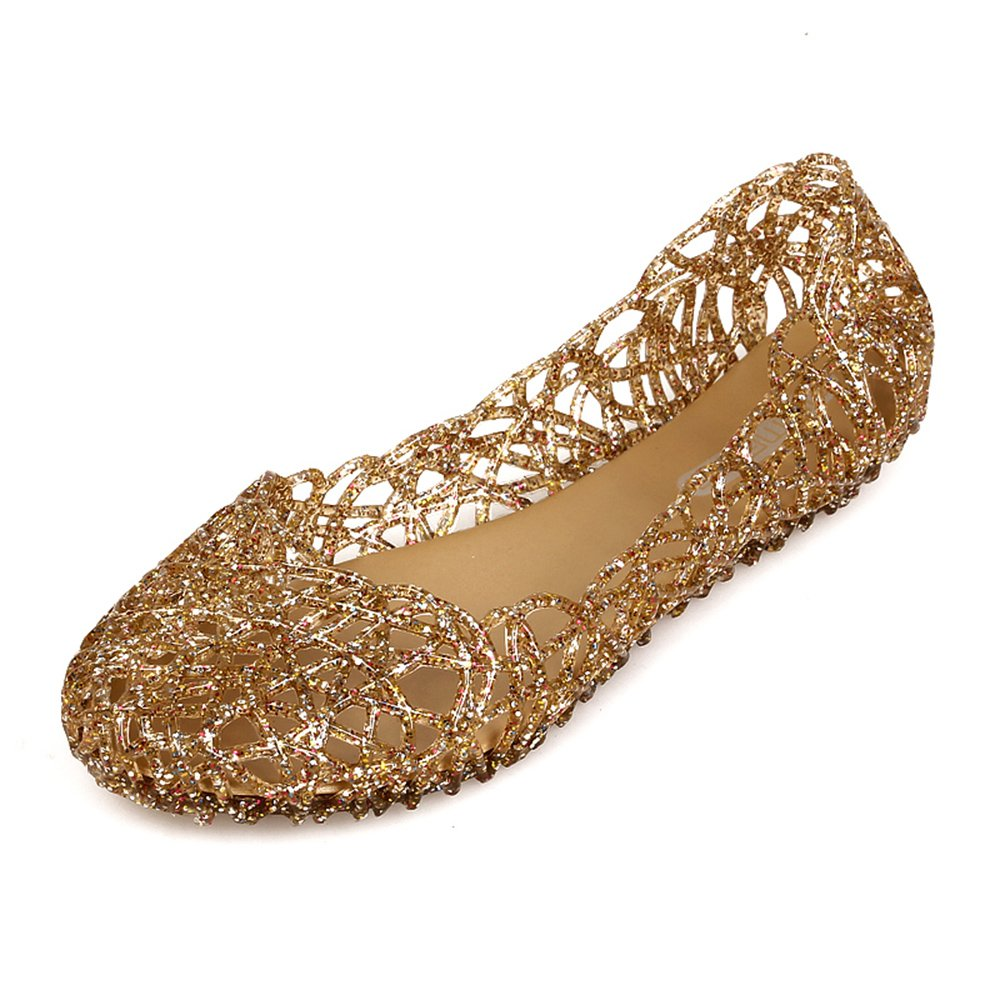 Domucos Bling Jelly Flat Womens Shoes for Weddings Parties Outdoor Indoor Casual Classic Flat-Gold-9.5-41