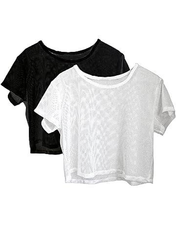 db77d0e58b Baoblaze 2 Pièces Femmes Filles Manche Courte Engrener Cover Up Sports  Blouse Transparent T-Shirts