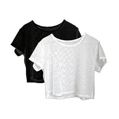 2x Camisa de Malla Poliéster Deporte Yoga Carrera ...