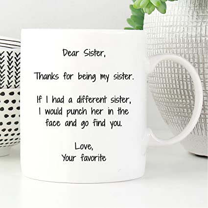 Amazon Dear Sister Thanks For Being My Coffee