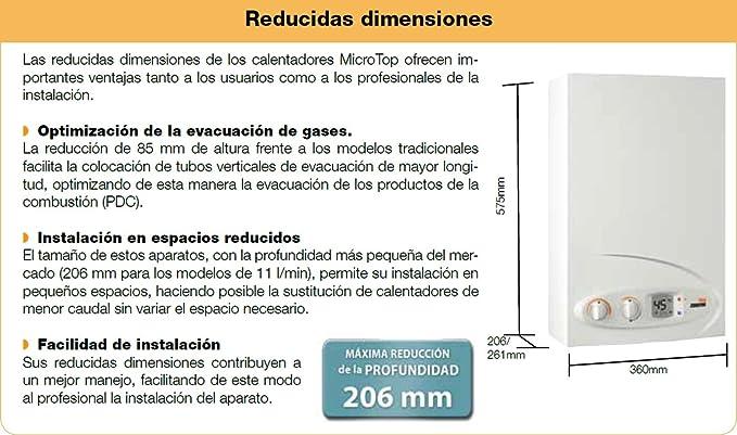 Cointra MicroTop-11 Estanco n Vertical Sin depósito (instantánea) Blanco - Hervidor de agua (Vertical, Sin depósito (instantánea), Interior, Gas natural, ...