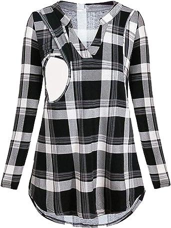 Camiseta a Cuadros V Cuello de Manga Larga Premamá para Mujer Embarazo Lactancia T-Shirt Camisa Tops Blusa: Amazon.es: Ropa y accesorios