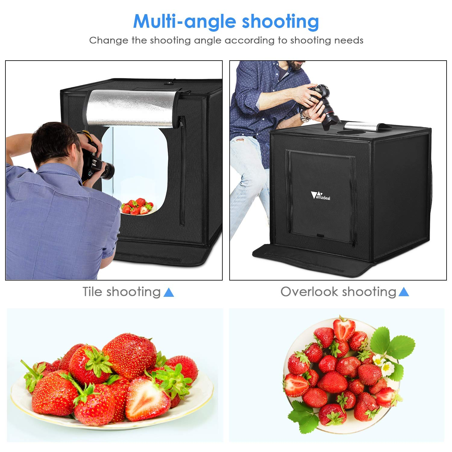 Blue//White//Black//Orange Amzdeal Foldable Photo Studio 24x24 Inch Light Box with 4 LED Strips 5000LM 5500K,Photography Cube Shooting Tent,with Velcro Design,4 Backdrops -Upgraded Version