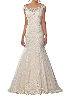 98023c6bad Graceprom Women s Lace Mermaid Wedding Dresses Tulle Sexy Beach Bridal  Wedding Gowns at Amazon Women s Clothing store