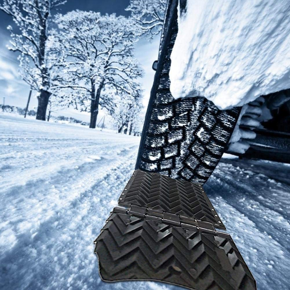 58x20x2.1cm cuckoouk Universal Car Wheel Anti-Skid Pad,Car Tyre Emergency Traction Treads Tracks,Folding Skid Rubber Plate,Wheel Traction for Snow Sand Mud Driving