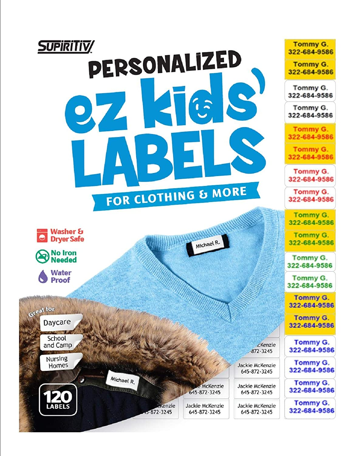 Custom Personalized All Purpose Ez Kids' and Adults Clothing Name Labels - 120 pcs, Stick-On No-Iron, Washer, Dryer & Dishwasher Safe