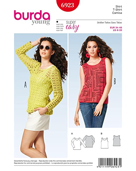Burda Ladies Young Fashion Easy Sewing Pattern 6923 - Tops Sizes: 8 ...