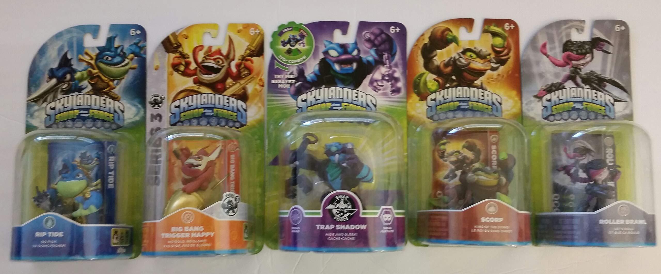 Skylanders Swap Force Action Figures (5) : Trap Shadow , Rip Tide , Roller Brawl, Scorp and Big Bang Trigger Happy