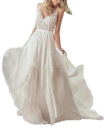 Nicefashion Flowy Deep V Back A Line Beach Wedding Dress With Lace ...