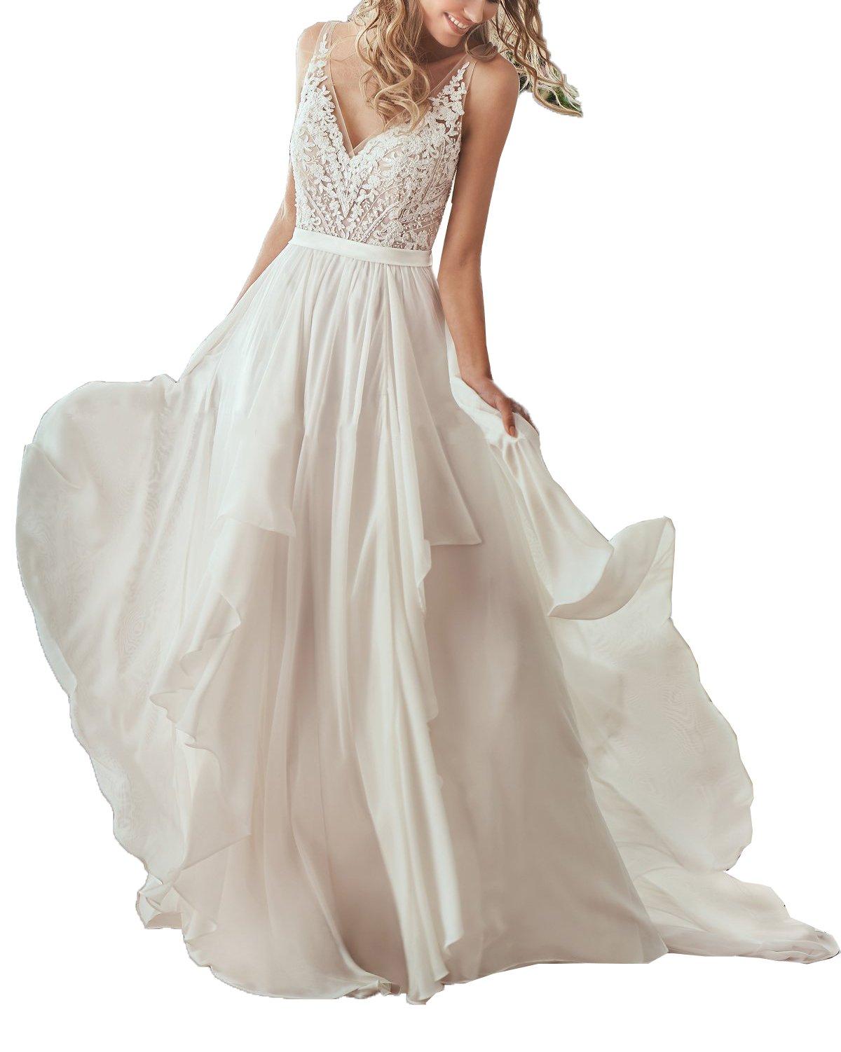Nicefashion Women's Vintage V Back Sweep Train Bohemian Chiffon Beach Wedding Formal Gowns White US8
