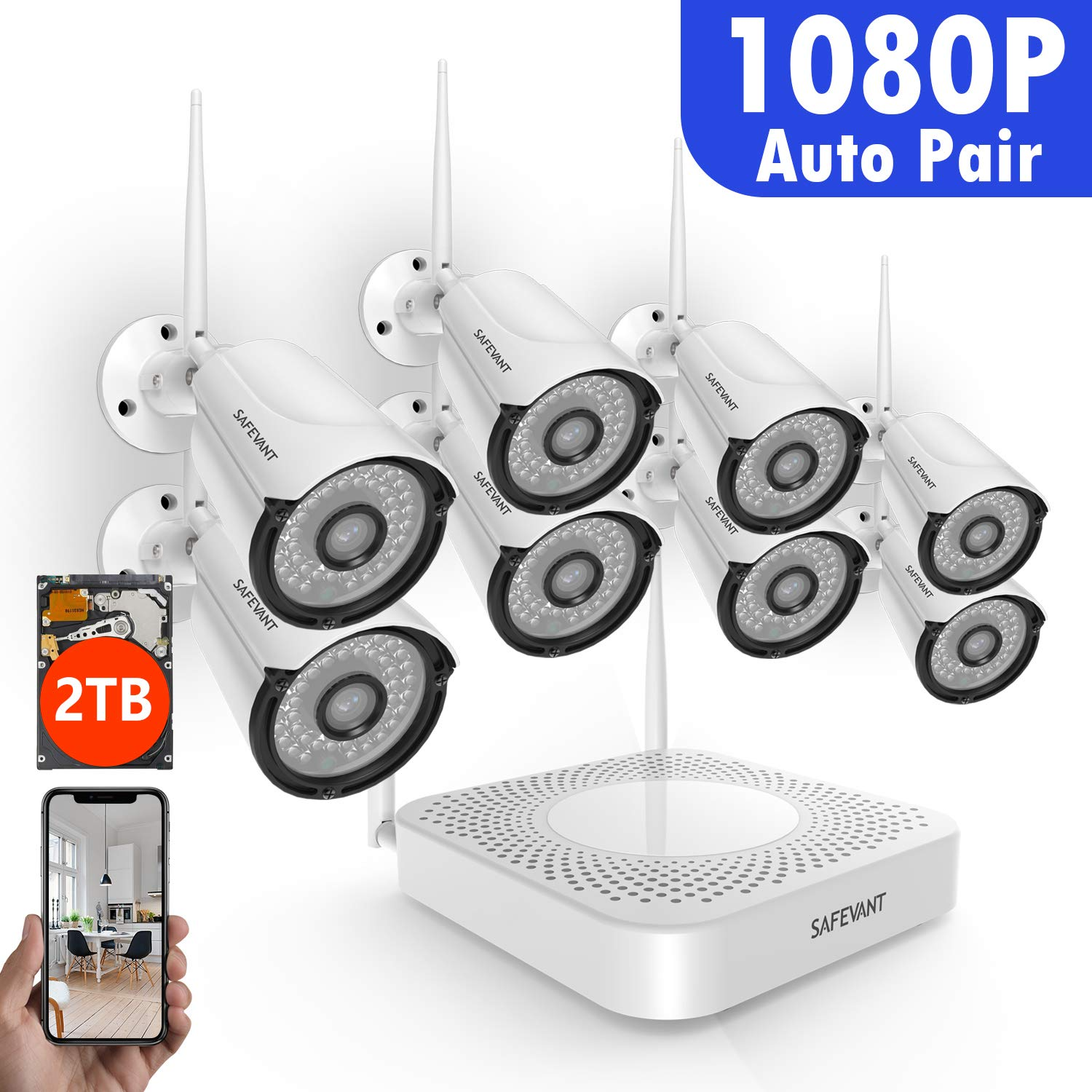 Full HD 1080P 8CH Wireless Security Camera System,SAFEVANT Wireless Camera System 2TB Hard Drive ,8PCS 1080P 2.0MP Indoors Outdoors Wireless IP Cameras,NO Monthly Fee