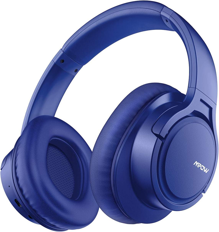 Mpow H7 Cascos Bluetooth Diadema, Auriculares Diadema Bluetooth, 25 Horas de Reproducir, Cascos Bluetooth Inalámbricos con Micrófono CVC6.0, Auriculares Bluetooth Diadema para TV, Móvil, PC-Azul