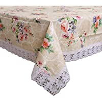Kuber Industries Floral PVC 4 Seater Centre Table Cover - Cream