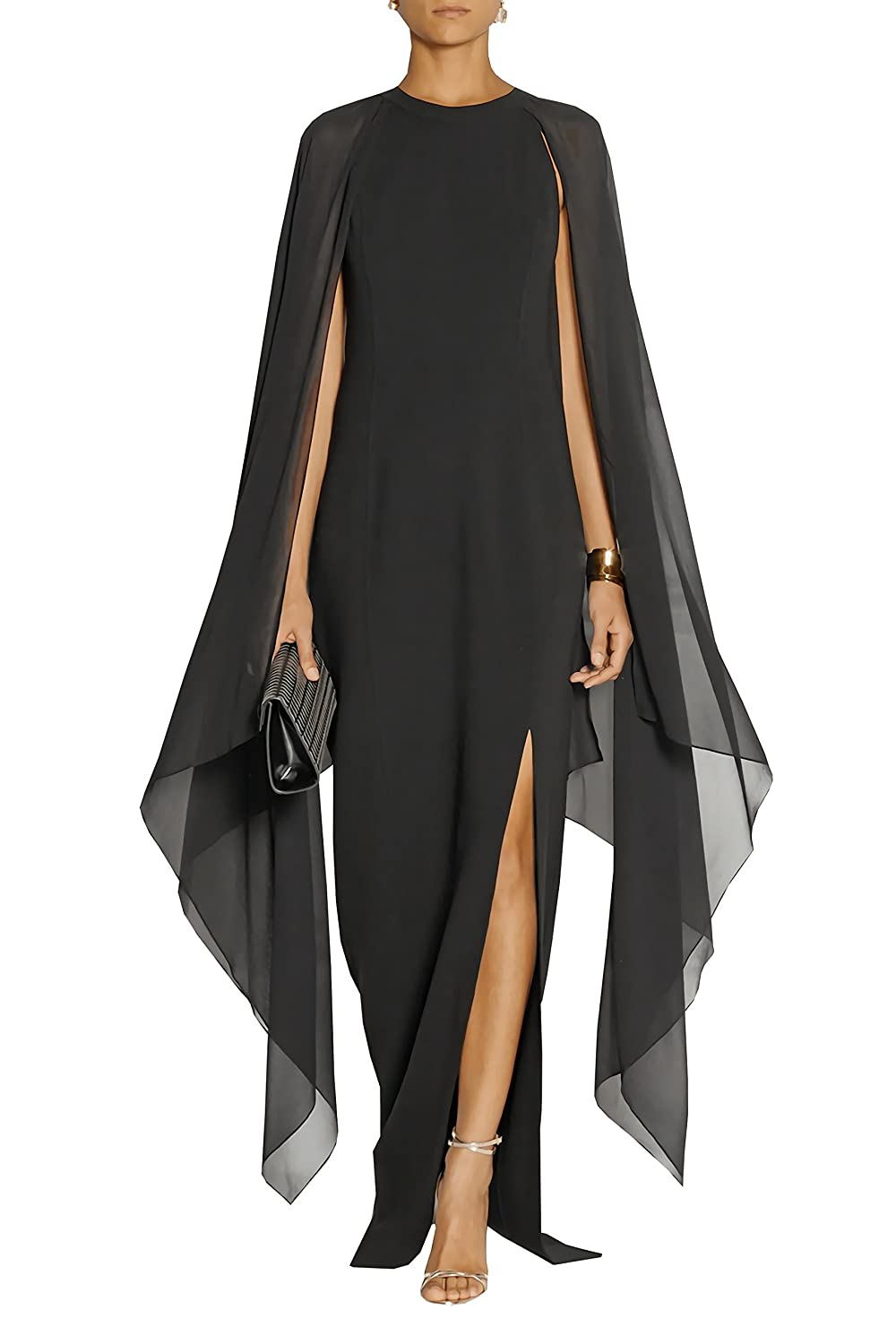 L&ZZ Womens Long Chiffon Formal Gown Prom Evening Dresses with Cape at Amazon Womens Clothing store: