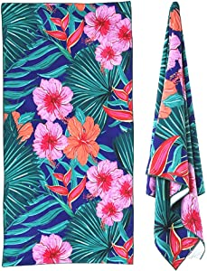 Inshere Sandproof Microfiber Beach Towel for Adults & Kids, Quick Dry Super Absorbent Ultra Lightweight Compact, Perfect for Camping/Yoga/Gym, Ideal Travel Bath Towels Cute Tropical Flower