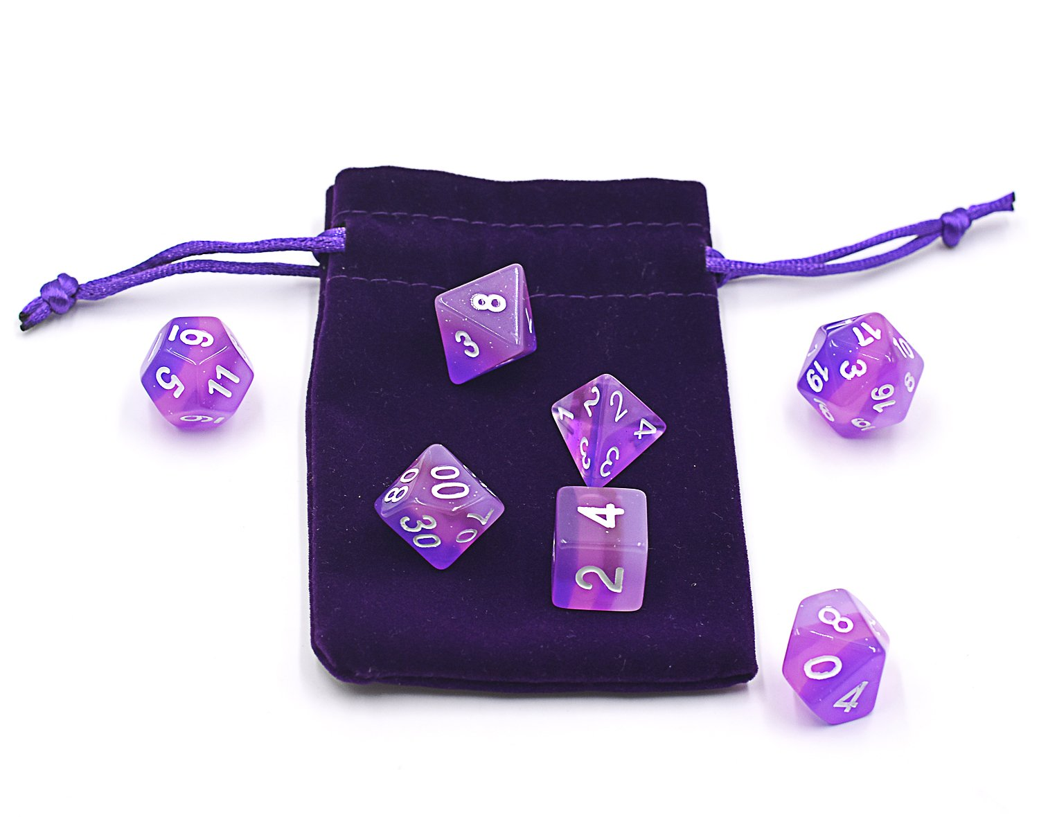 DND Dice Rose Blue Double-Color Jade Dice for Dungeons and Dragons Role Playing Game MTG RPG Including Dice Pouch Polyhedral Dice Sets
