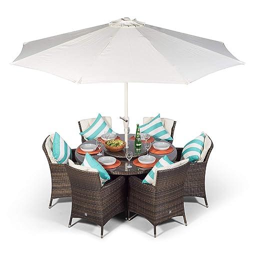 Sedie E Tavoli Da Giardino In Vimini.Set Di Mobili Da Giardino Savannah In Vimini 6 Sedie E Tavolo Da