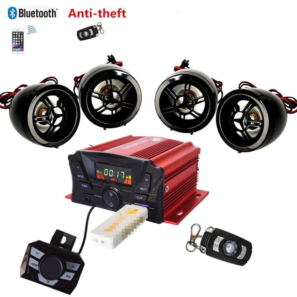 4 Channels UTV ATV Anti-Theft Bluetooth Amplifier Sound System Hand-Free Speakers FM USB Audio System Stereo Remote Control Anti-Theft Police Guard-Alarm 4X 3 Inch Speakers beyondcity