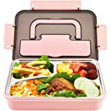 Stainless Steel Bento Box   Metal Lunch Container for Adults   3 Compartments Portable Food Container with Utensil (Pink…