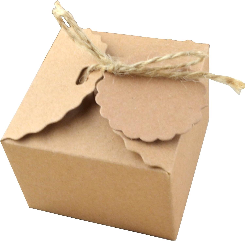 50 Piezas Papel Kraft Caja de Regalo Dulces Regalos Cajas Para el Presente del Banquete de Boda Embalaje Favor Regalo Dulces Marrón (Cuerda de yute)