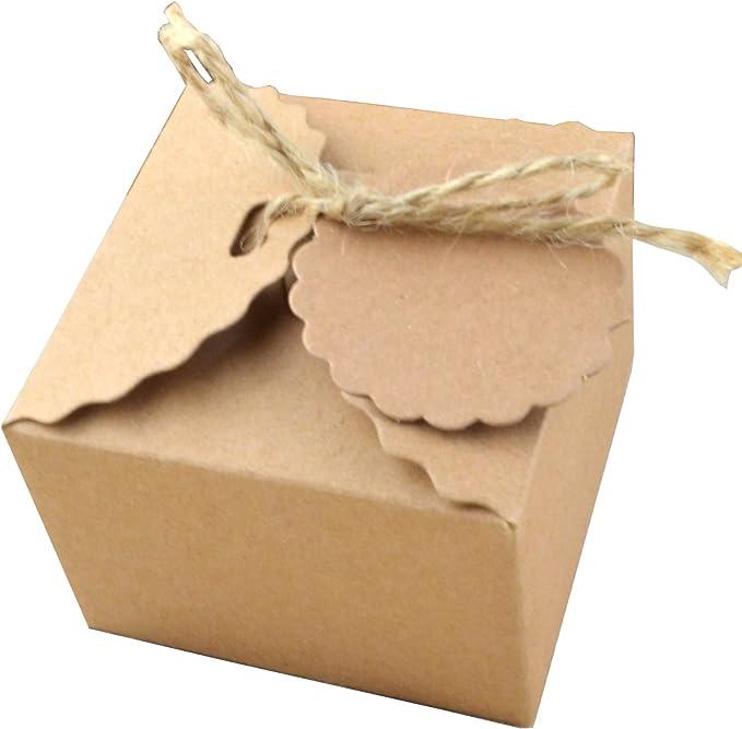 Chiffon Garn knowing 50 Stuck Kraftpapier Geschenkbox Geschenkschachtel Mit Gift Tags F/ür Hochzeitsfest Geschenk Verpackung Bevorzugung Geschenk Candy Braun